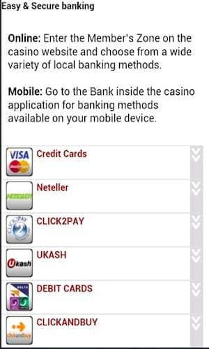 Banking Deposit Methods in All Slots Mobile Casino