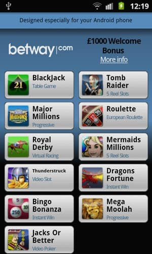 Betway Mobile Casino mobile Android Games Preview