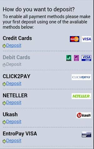 Banking Deposit Methods in Betway Mobile Casino