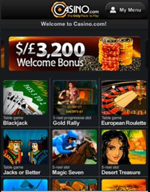 Casino.com Mobile Screenshot