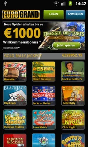 Eurogrand Mobile Screenshot