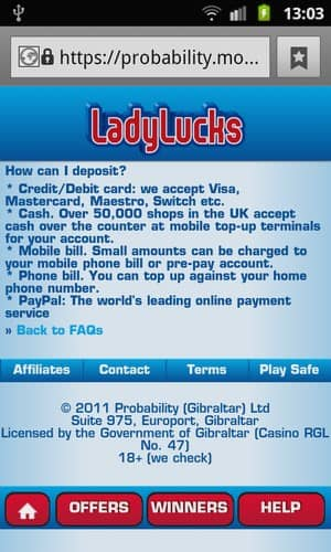 Banking Deposit Methods in Lady Lucks Mobile Casino