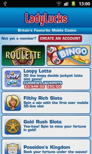 Lady Lucks Mobile Casino Screenshot