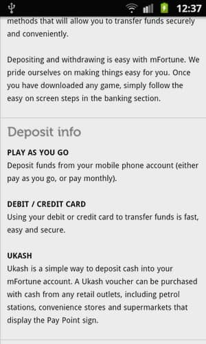 Banking Deposit Methods in mFortune mobile phone Casino