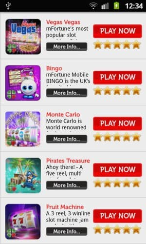 mFortune mobile phone Casino mobile Android Games Preview