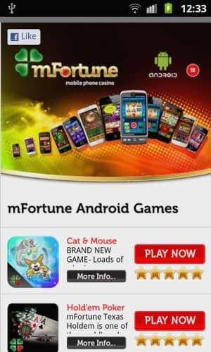 mFortune mobile phone Casino Screenshot