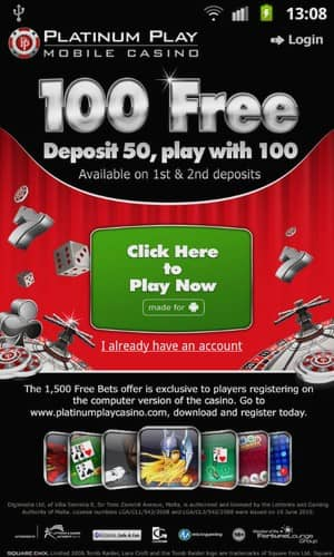 platinum play mobile casino download