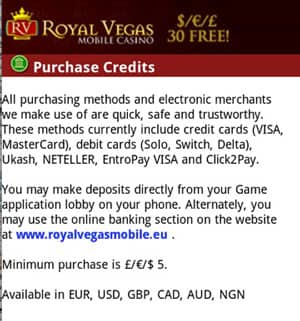 Banking Deposit Methods in Royal Vegas Mobile Casino