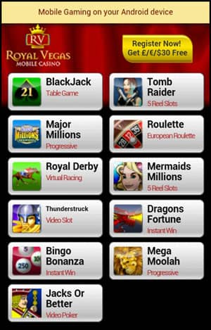 Royal Vegas Mobile Casino mobile Android Games Preview