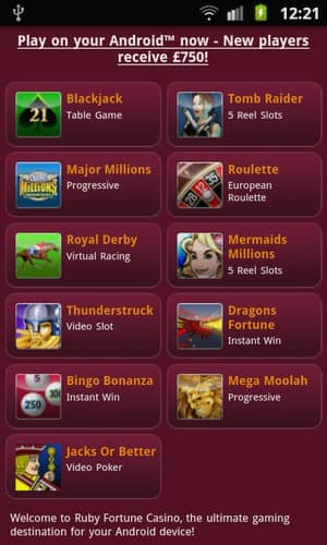 Ruby Fortune Mobile Casino mobile Android Games Preview