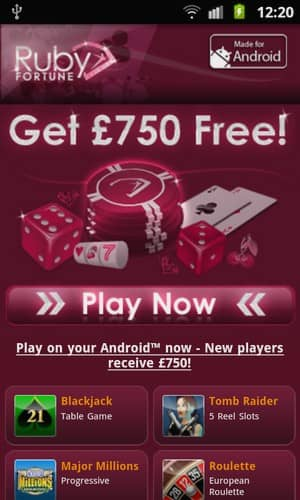 Ruby Fortune Mobile Casino Screenshot