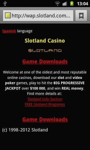 Slotland Mobile Casino Screenshot