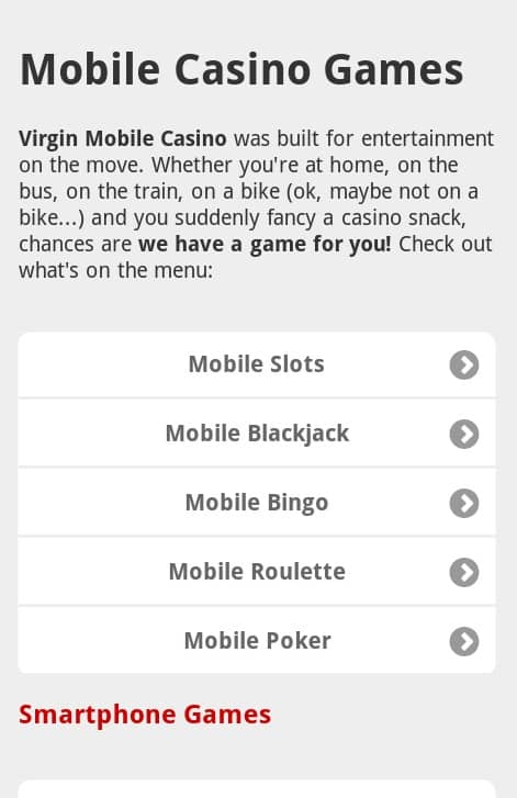 Virgin Mobile Casino mobile Android Games Preview