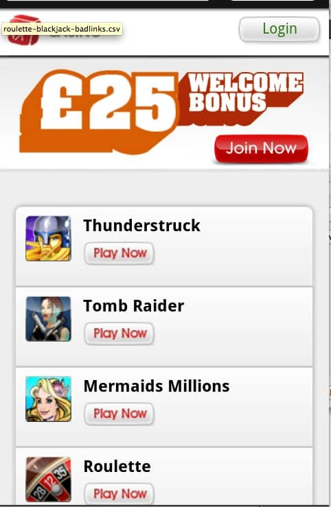 Virgin Mobile Casino Screenshot